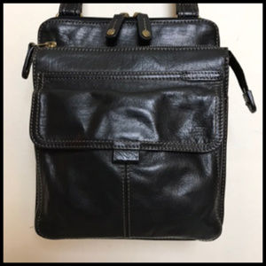 Fossil Leather 3 Section Crossbody Bag With Key
